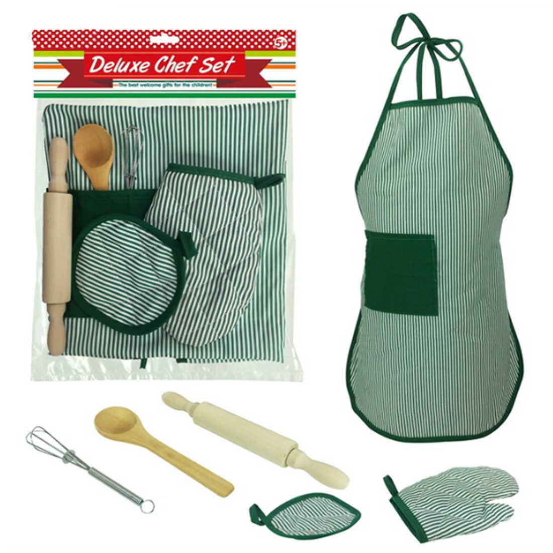 2018 Anak Chef Set DIY Memasak Baking Sesuai dengan Mainan Baru Berpura-pura Bermain Apron Sarung Tangan Rolling Pin Eggbeater Cooker Hadiah untuk Anak-anak