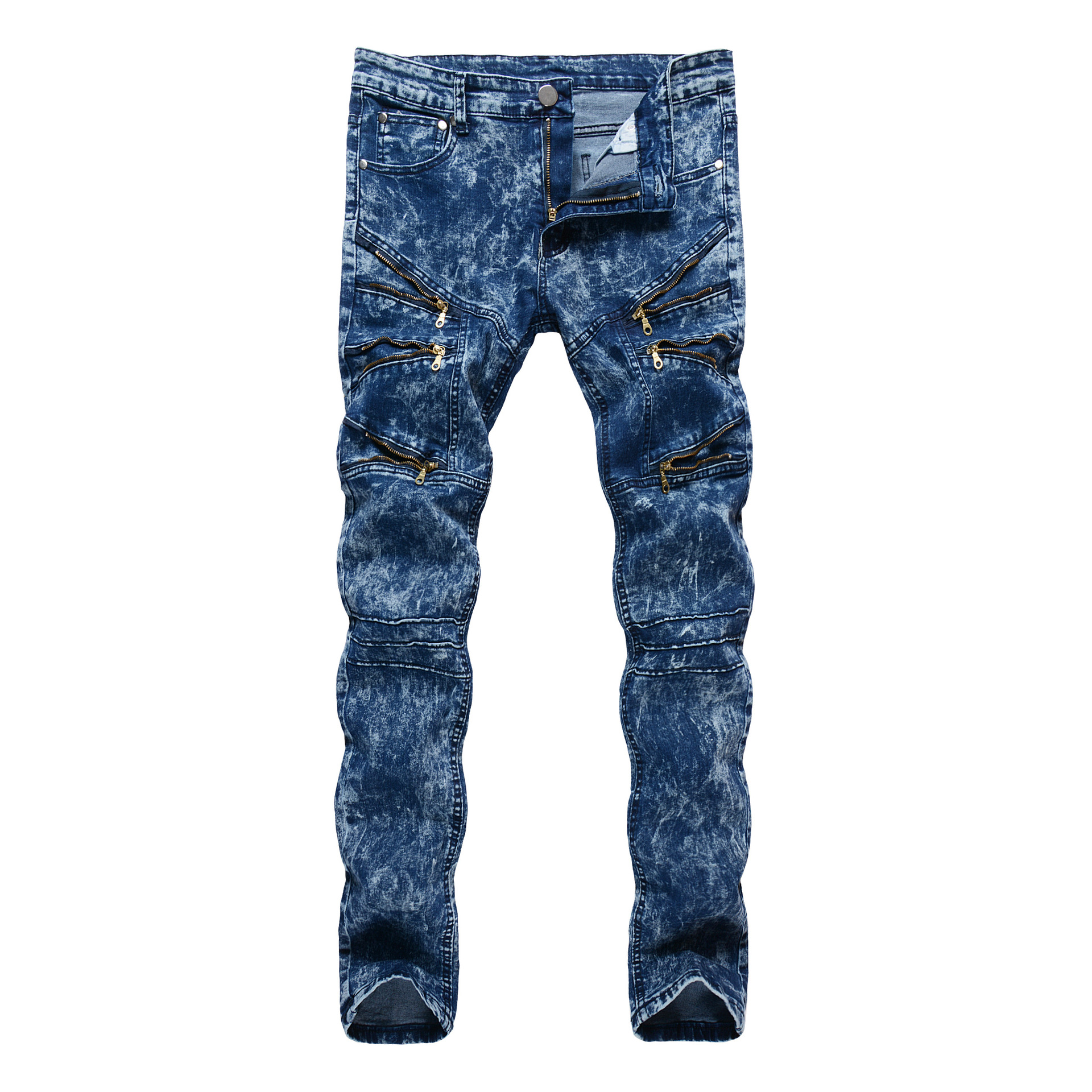 Mens Slim Straight Jeans Trousers hip hop vintage hole ripped stretch denim full length pants straight streetwear zipper pant