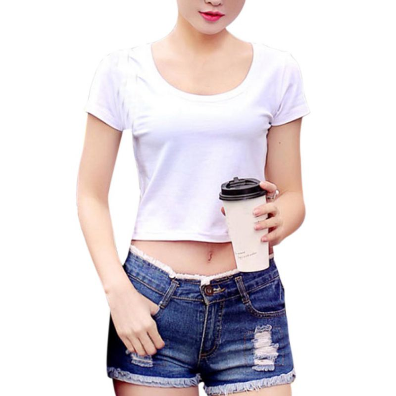 New Women TShirt Causal O-neck Sexy 2018 Crop Top Ladies Short Sleeve Tops Tee Stretch Black White T-shirt Plus Size Femme