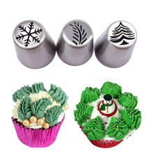 3 pcs/set Snow Christmastree Stainless Steel Russian Tulip Icing Piping Nozzles Cupcake Fondant Cake Decorating Tip Sets(China)
