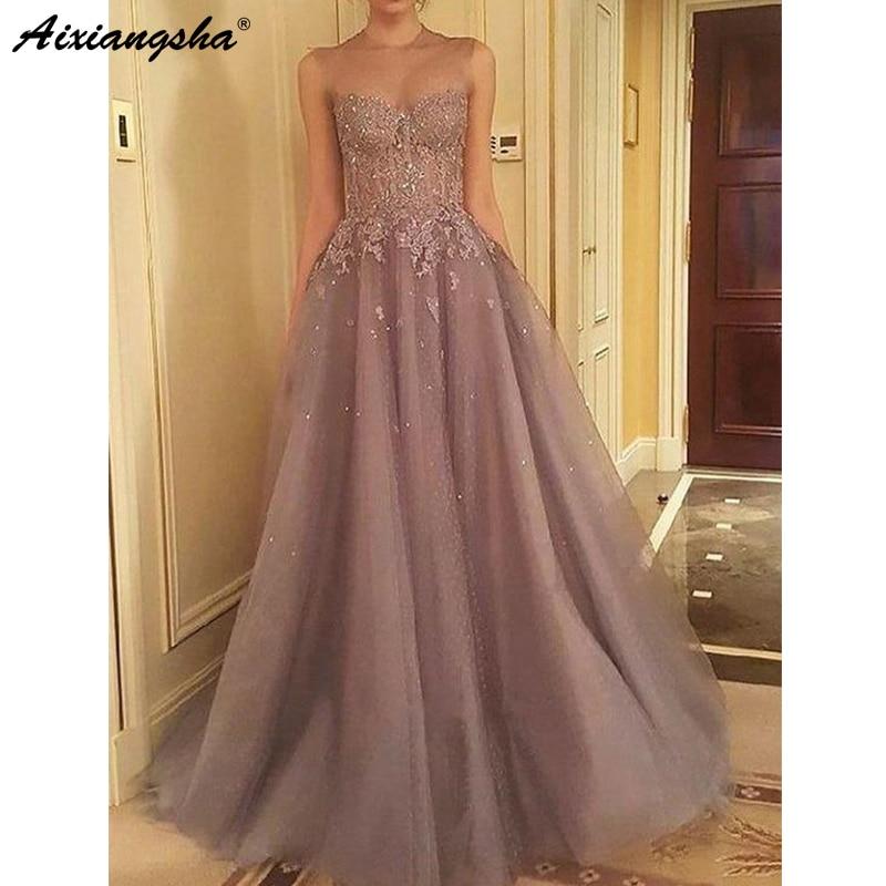 Fairy Evening Dresses 2019 Illusion O-Neck Tulle Lace Beading A-Line Islamic Dubai Saudi Arabic Long Evening Gown Prom Dress