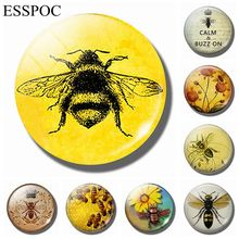 Vintage Bee 30 MM Fridge Magnet Honey Nature Insect Animal Glass Dome Magnetic Refrigerator Stickers Note Holder Home Decor