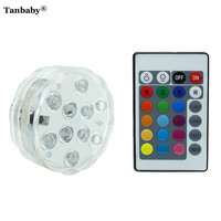 Tanbaby Battery Operated RGB LED Underwater Light IP67 Waterproof Swimming Pool Light LED Submersible For Party
