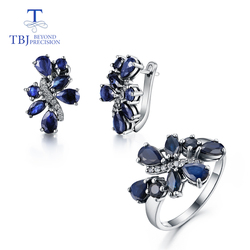 TBJ,natural sapphire set jewelry Rings and earrings flower design 925 silver suitable for women wedding or anniversary nice gift