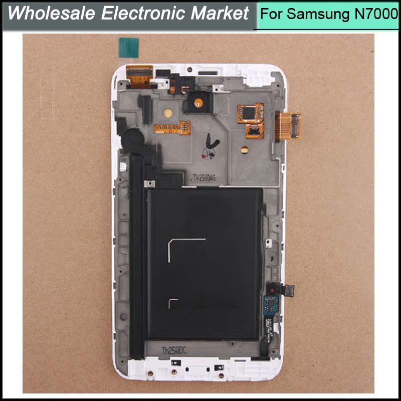 100% Guarantee LCD Display Digitizer Touch Screen For Samsung Galaxy Note n7000 With Frame Assembly White Color original 100% test lcd display touch screen digitizer assembly for samsung galaxy note edge n915 white with tempered glass tools