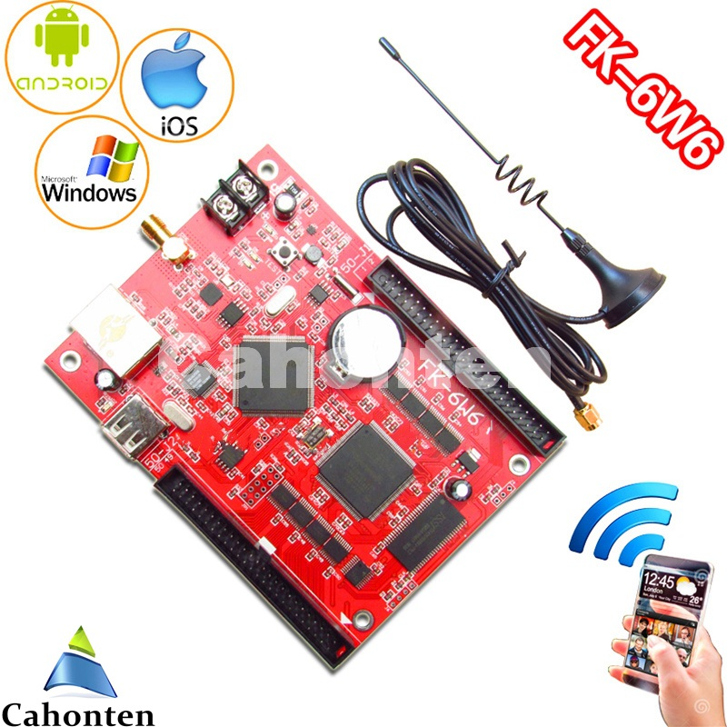 все цены на FK-6W6 wifi led control card Ethernet/USB wireless PC/Phone APP full color support p10,p13.33,p16,p4.75 led controller board онлайн
