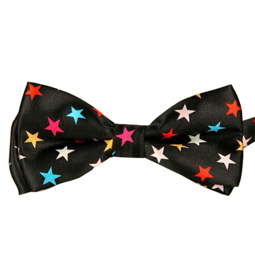 Newest Black Bottom With Color Five Pointed Star Pattern Bow Tie For Men