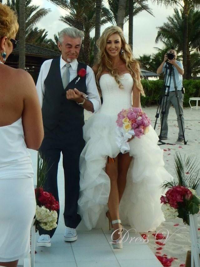 Dressv Beach Wedding Dresses High Front Low Back Puffy Lovely ...