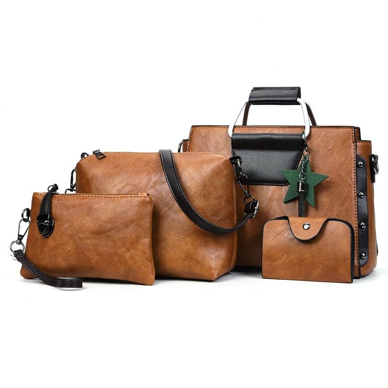 Hight quality Women Bag Set Top Handle Big Capacity Female PU Leather Handbag Fashion Shoulder Bag 4pcs Purse Ladies Crossbody B