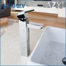 Kemaidi ванной кран хромированная латунь Прилавок горячей и холодной одно отверстие коснитесь Высокое качество для ванной умывальник, краны
