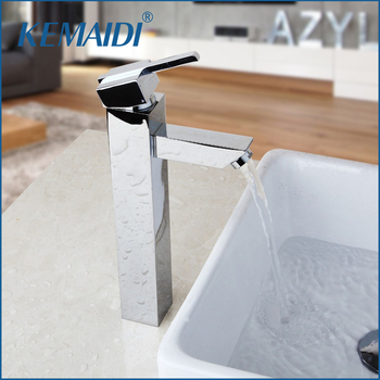 KEMAIDI Bathroom Faucet Chrome Brass Countertop Hot & Cold Mixer Single Hole Tap High Quality Bathroom Basin Sink Taps