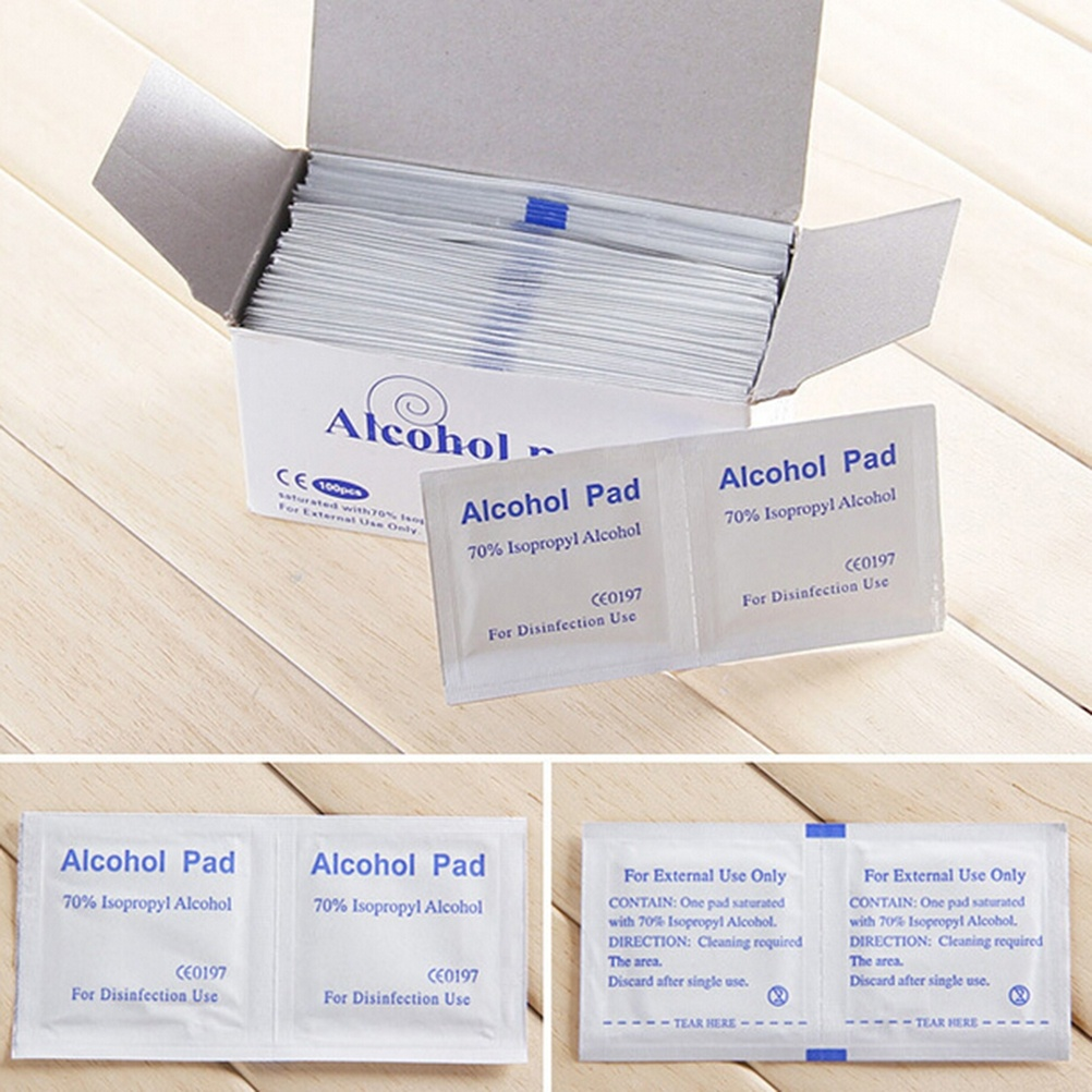 100 Pcs/Box Professional Alcohol Swabs Pads 70% Isopropyl First Aid Home Skin Cleanser Sterilization Fast Shipping