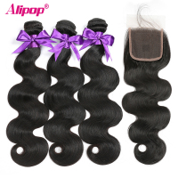 "Peruvian Hair Body Wave Bundles With Closure Human Hair 3 Bundles With Closure ALIPOP 4""x4"" Lace Closure With Baby Hair Remy"