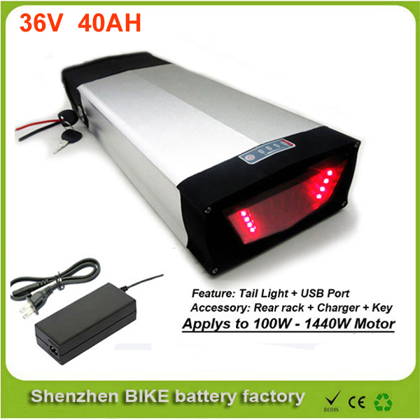 High power rear rack electric bicycle battery 36v 40ah lithium ion battery for e-bike with charger and USB port For Sanyo Cell 30a 3s polymer lithium battery cell charger protection board pcb 18650 li ion lithium battery charging module 12 8 16v