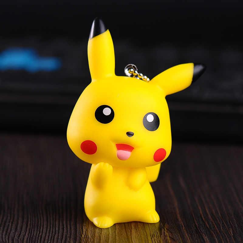 Bonito dos desenhos animados Pokemon Pocket Monsters Pikachu Chaveiro Chave Anel Titular Go Saco Encantos Chaveiro Pingente Chaveiro de Pele De Coelho PomPom