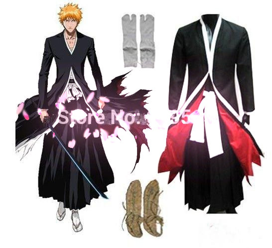 Free Shipping ! Anime Bleach Cosplay Bleach Kurosaki ichigo Cosplay Costume