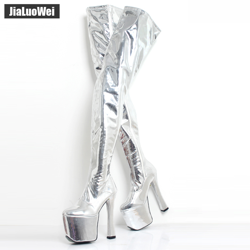 jialuowei Sexy 20cm /8 inch high heel Over the knee Stiefel boots Women 9cm platform thigh high boots plus size 44 45 46 jialuowei 8 inch ultra high heel fetish sexy over the knee long boots pleaser stretch platform thigh high boots side ribbon lace