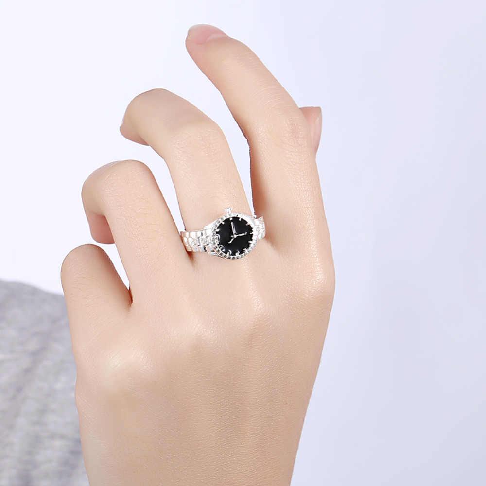 DEELAN แหวนแฟชั่นคริสตัลนาฬิกาผู้ชายและผู้หญิง charm zircon คู่แหวนของขวัญเครื่องประดับ