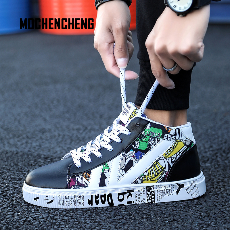 Smart Men Sneaker Old School Skateboard Shoes High Top Graffiti Print Round Toe Lace-up Hip Hop Male Sneaker Rubber Skateboard Shoes Men's Shoes Shoes