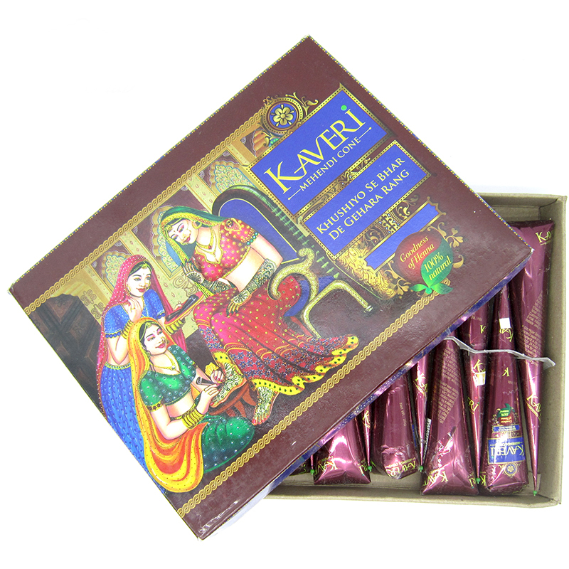 1 Dozen / 12ks Mehndi Natural Brown Indická Henna Tattoo Pasta Cones, Brown Tetovací pasta Krém Finger Body Paint KAVERI Značka 25g