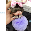 New monchichi keychain fur pompom women car keychain super cute girls bow pompon rhinestone key chain bag pendant key ring 2016