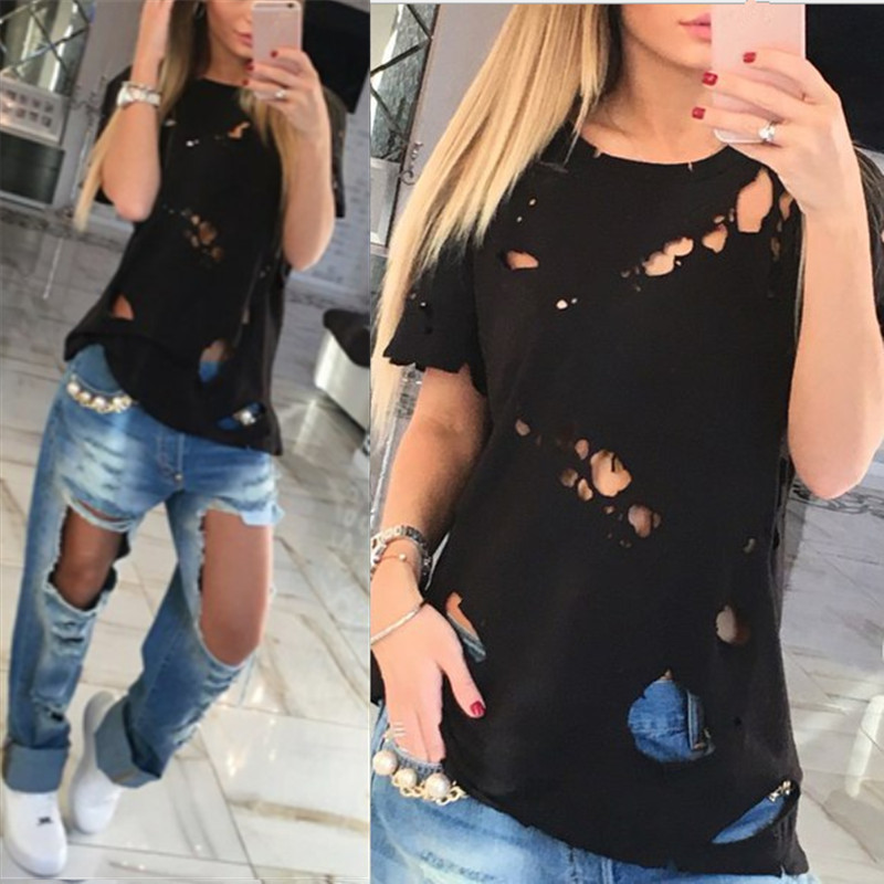79b98cf1d0c06 2018 Fashion Holes Ripped T-Shirt Women Casual Loose Summer T Shirts Female  Tops Ladies