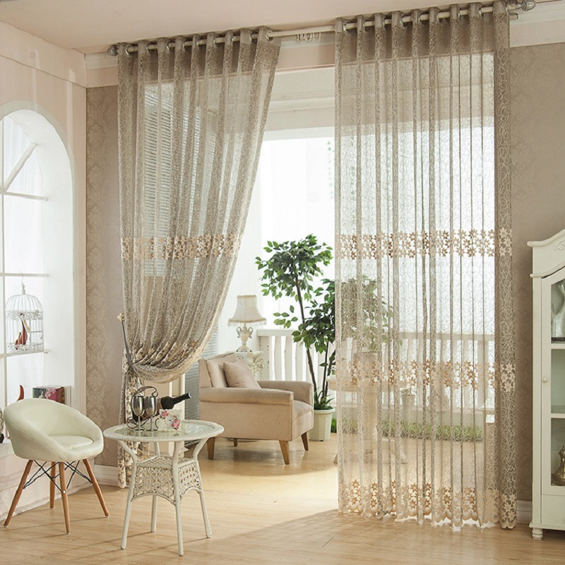 Window Curtain For Living Room Jacquard Hollow Curtain Drawing Bedroom Pastoral Drapes Solid Loops Cortinas Linen