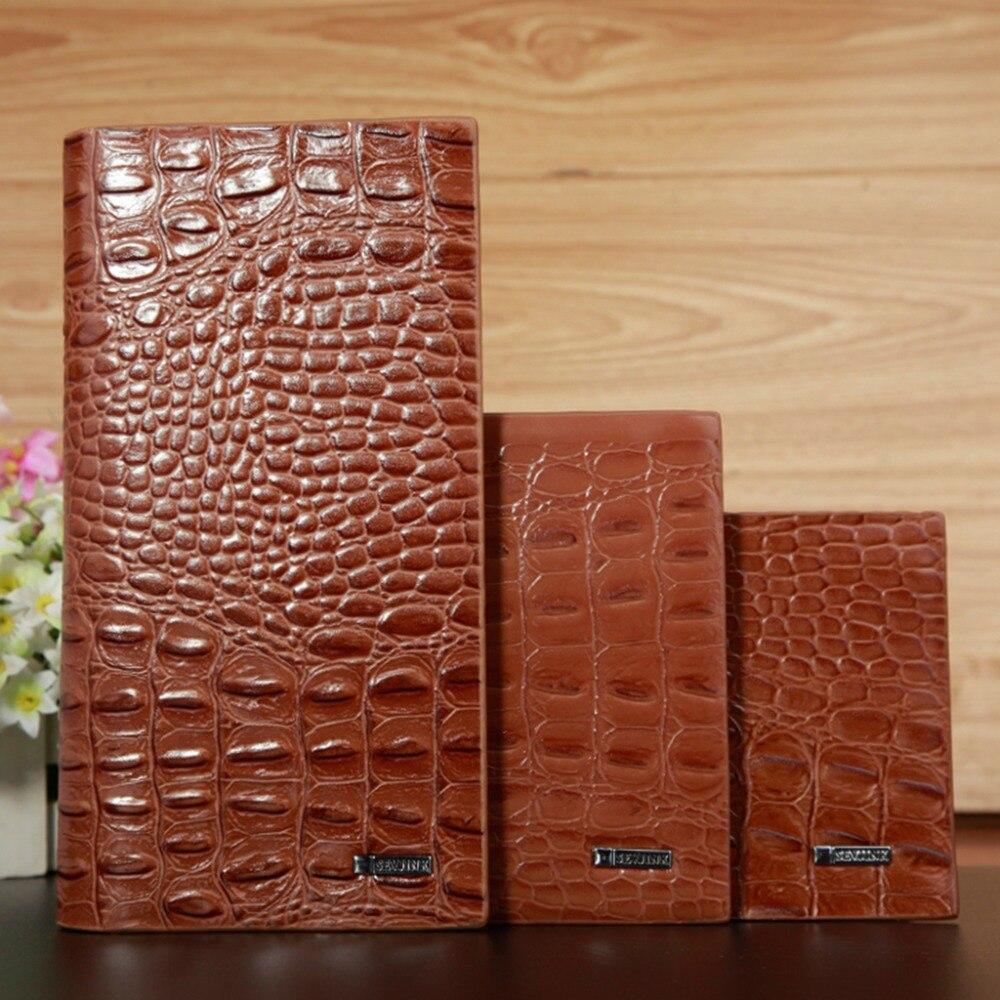 Genuine Crocodile Leg Skin Brown Leather Money Clip Wallet With Card Holder KTM