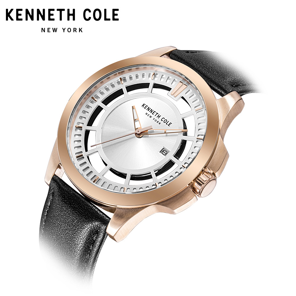 Kenneth Cole Mens Watches See-through Quartz Calendar Steel Gold Black Leather Strap Buckle KC10027460 Luxury Brand Watches цена и фото