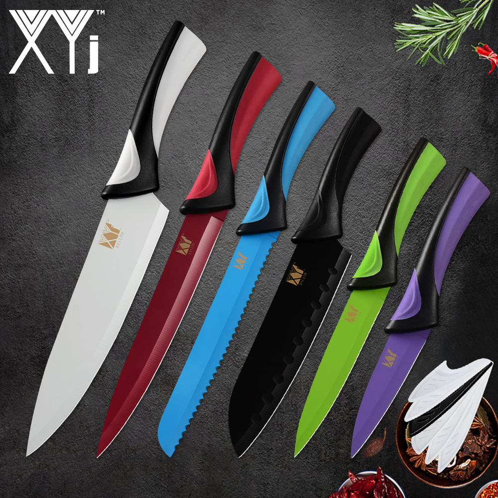 XYj Stainless Steel Kitchen Knife Set Six Colors Options ABS+TPR Handle Thin Sharp Blade Knives Meat Fish Fruit Cooking Tools