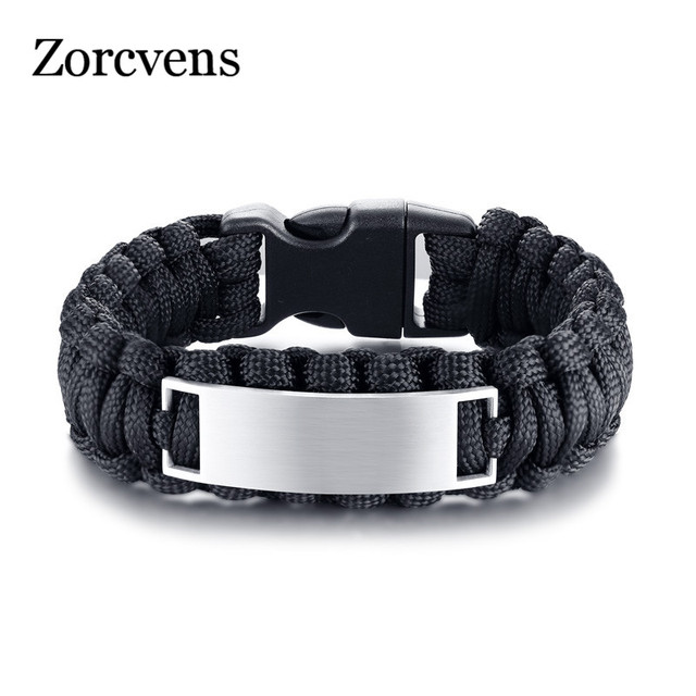 LETAPI Outdoor sports black brown rope men's and women's stainless steel bent card woven bracelet