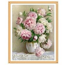 цена на square drill peony modern home decoration diy diamond painting flowers needlework 3d full diamond embroidery painting