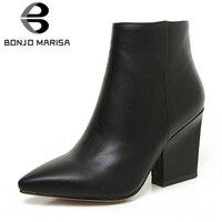 bf6ef8a3e ... Salto Alto Sapatos Mulher Tamanho Grande 32 43. BONJOMARISA 2019 Spring  Solid OL Mature Black Ankle Boots Women Zip Closure Pointed Toe High Heels