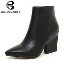 86bb0b974f BONJOMARISA de Primavera de 2019 sólido OL madura negro tobillo botas  mujeres cierre de cremallera del