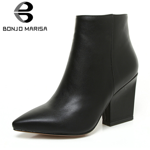 8d266ed05e3 BONJOMARISA 2019 Spring Solid OL Mature Black Ankle Boots Women Zip Closure  Pointed Toe High Heels Shoes Woman Large Size 32-43