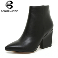 BONJOMARISA 2019 Spring Solid OL Mature Black Ankle Boots Women Zip Closure Pointed Toe High Heels Shoes Woman Large Size 32 43