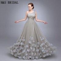 HS11 Een Schouder Dames Populaire Avondjurk Een Lijn gewaad de soiree Avondfeest Bloemen Prom Dresses Tulle Lange Avond Gown