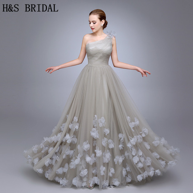 HS11 One Shoulder Evening Gown Ladies Evening Dress 2018 Floral A Line Evening Party Flowers Prom Dresses vestidos de fiesta