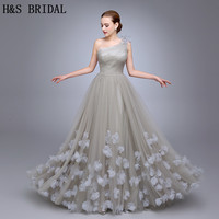 HS11 One Shoulder Ladies Popular Evening Dress A Line robe de soiree Evening Party Flowers Prom Dresses Tulle Long Evening Gown