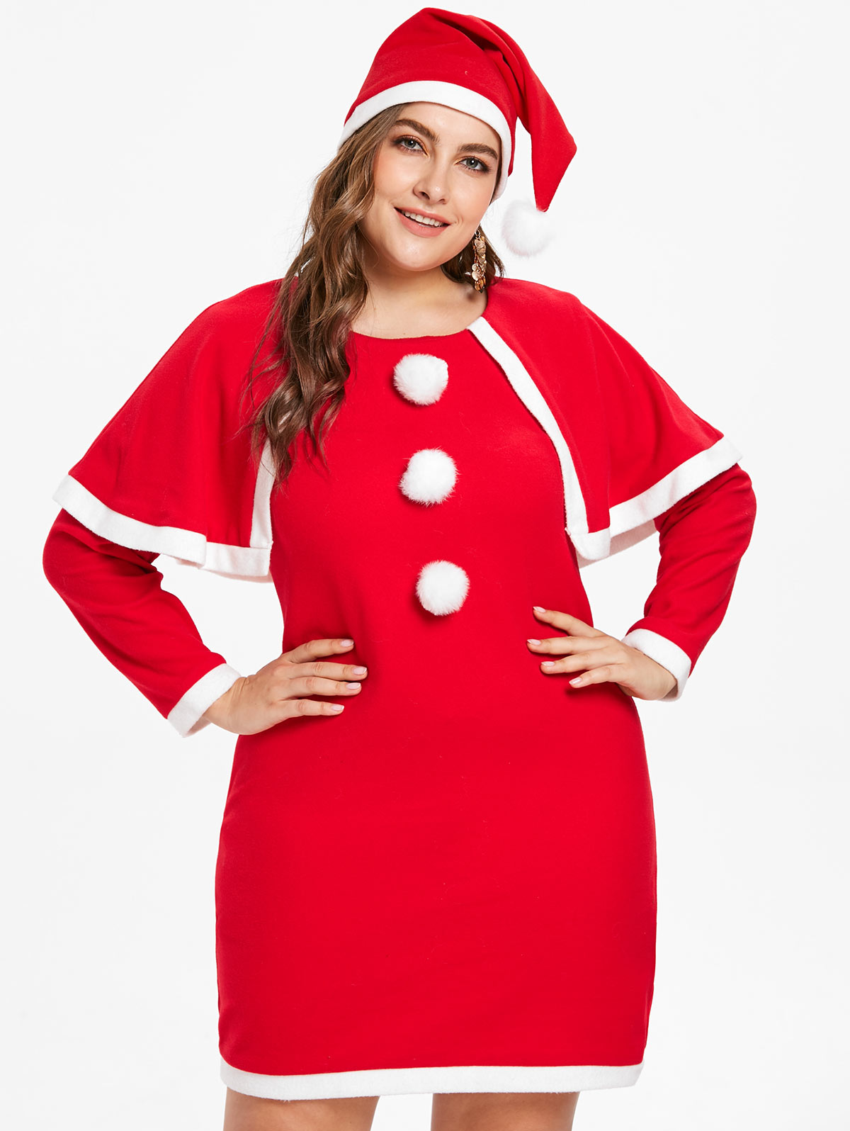 Wipalo Plus Size 5XL Christmas Dress With Hat Casual Patchwork Knee Length A Line Cute Christmas Party Dress Autumn Winter Dress