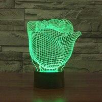 Bán buôn 3D Ảo Tưởng Led Night Lights New Đèn Rose Flower Shape USB Đèn Bàn Đèn Sáng Tạo Nightlights Chiếu Sáng Trang Trí luminaria