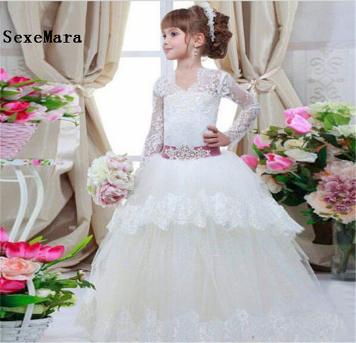 New Ivory White First Communion Dress Princess Pageant Gown Lace A Line Long Sleeves Flower Girl Dress for Wedding