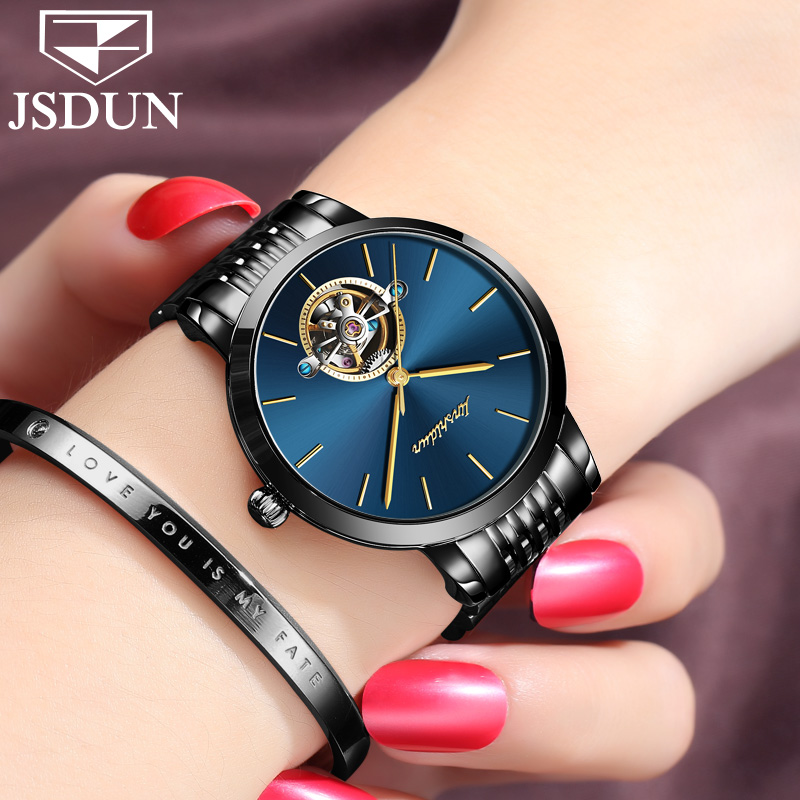Womens watches 2017 brand luxury fashion korean watch for woman christmas gift Stainless steel mechanical dial hollow watch NEW