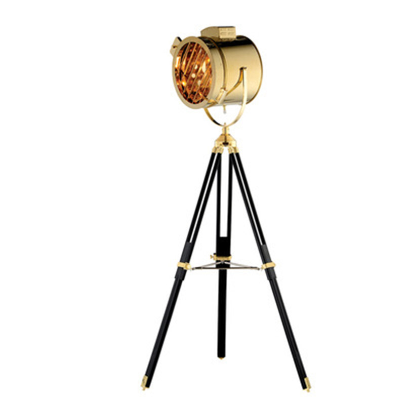 wongshi Gold Silver Wooden Studio Retro Tripod Floor Light Searchlight Additional Net Floor Lamp