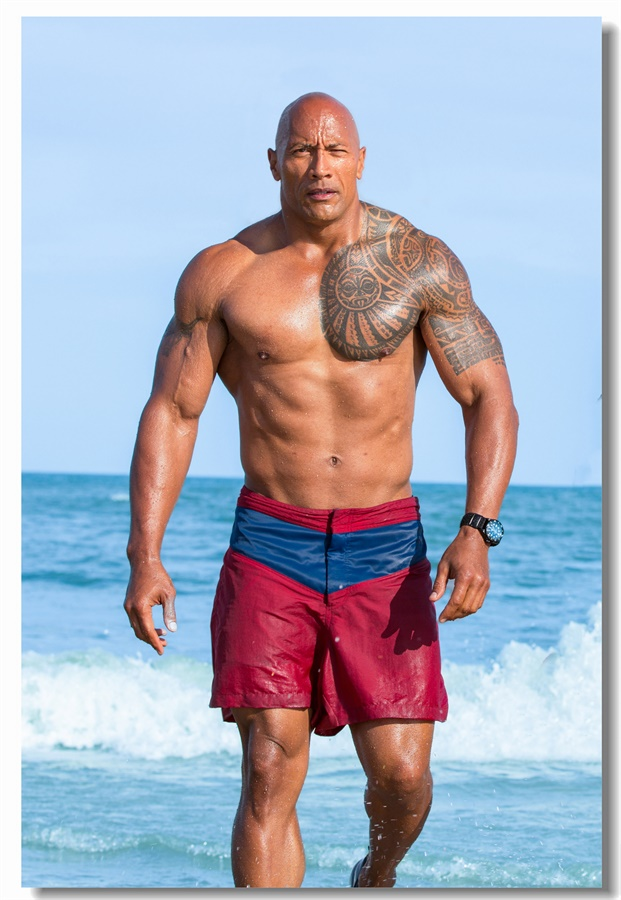 Custom Canvas Wall Decals The Rock Dwayne Johnson Poster Baywatch Wall Stickers Bodybuilding Wallpaper Cafe Office Mural #0396#