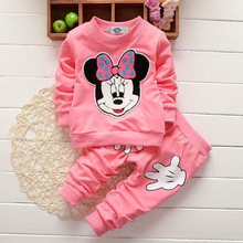 Newborn Baby Girls Clothing Sets Cartoon Mickey Mouse Minnie Long Sleeve Sweatshirts + Pants Suit Kids Jogging Childrens Suits
