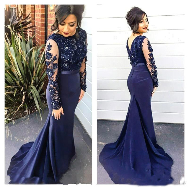 df0d88e58 Azul marino Prom vestidos manga larga con cuentas Scoop transparente Vestido  De Festa tribunal tren gasa