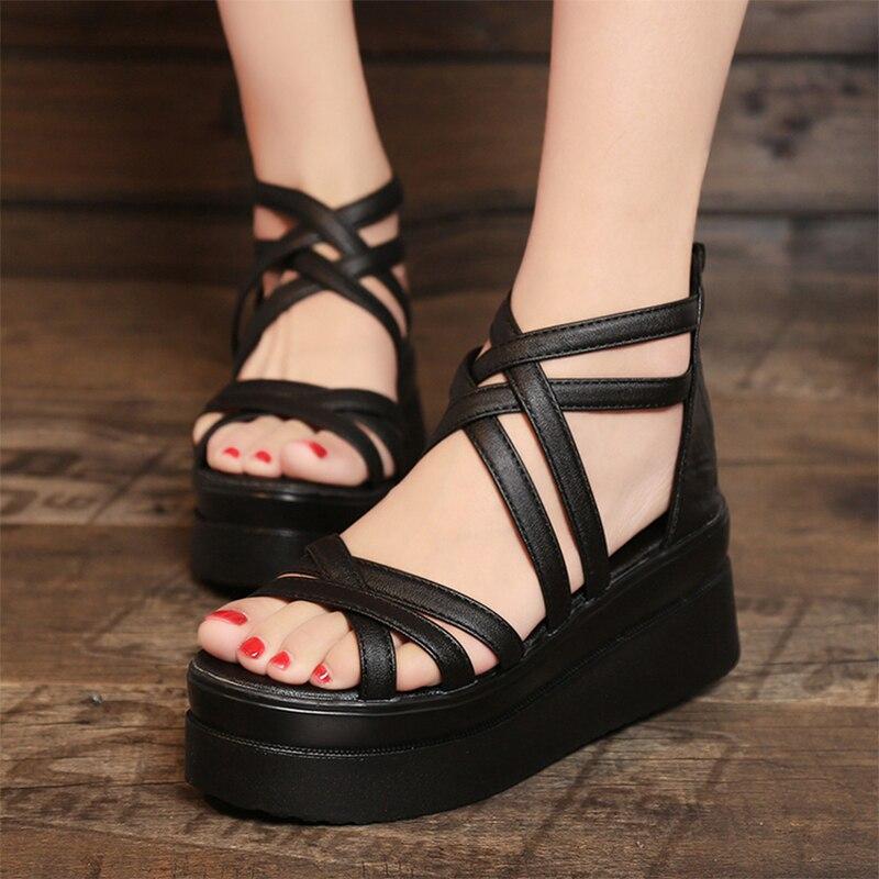 D'été De Dames Chaussures Croix Courroie Creepers Style Mcckle Femmes forme Rome Sandales Plate Noir blanc Gladiateur Coins Des Casual Plage EHD92eIYW