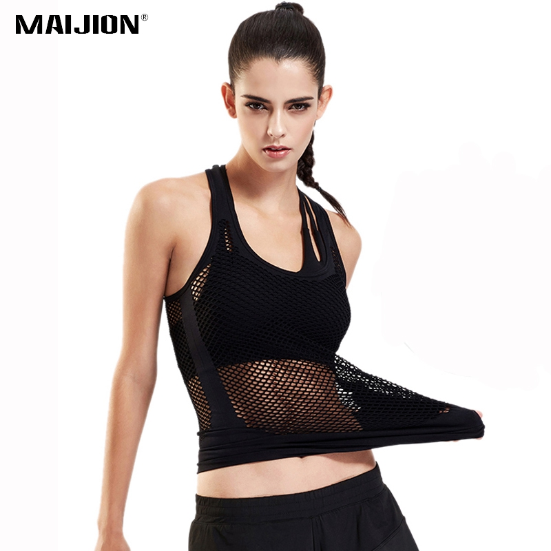 MAIJION Women Sexy Hollow Out Yoga Shirts Breathable Quick Dry font b Fitness b font Sports