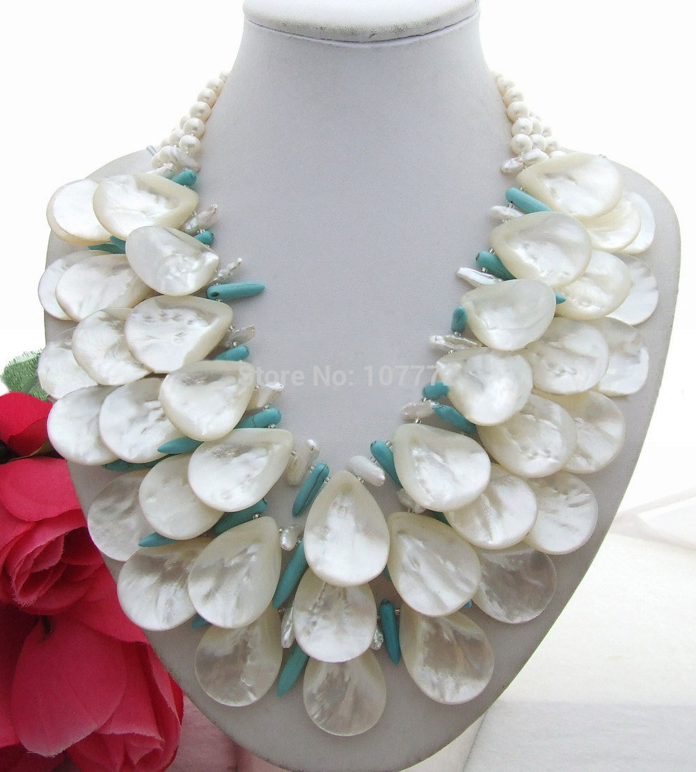 Beautiful! Pearl&Shell&Blue Semi-precious Stone Necklace free shipmentBeautiful! Pearl&Shell&Blue Semi-precious Stone Necklace free shipment